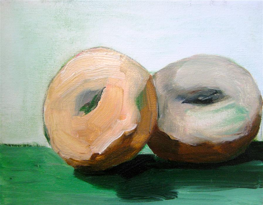 Discover Original Art by Malia Pettit | Two Donuts on Green Cloth oil painting | Art for Sale Online at UGallery