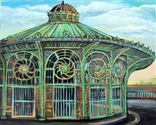 Architecture art,Representational art,Vintage art,acrylic painting,Carousel House, Asbury Park NJ