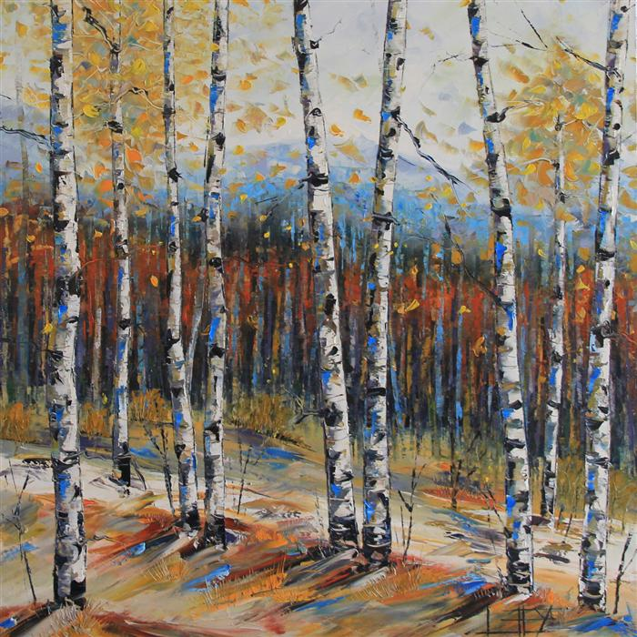Discover Original Art by Lisa Elley | Birch Trees of Fall oil painting | Art for Sale Online at UGallery