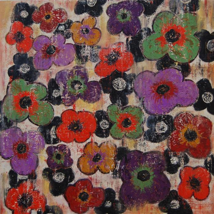 Original art for sale at UGallery.com | Flowers 3 by JANET HAMILTON | $2,175 | Oil painting | 36' h x 36' w | http://www.ugallery.com/oil-painting-flowers-3