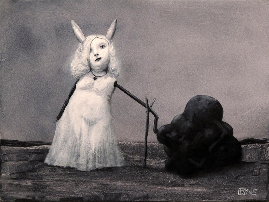 Original art for sale at UGallery.com | Bunny and Tarry Substance by KRZYSZTOF IWIN | $1,250 | Acrylic painting | 11.8' h x 15.7' w | http://www.ugallery.com/acrylic-painting-bunny-and-tarry-substance