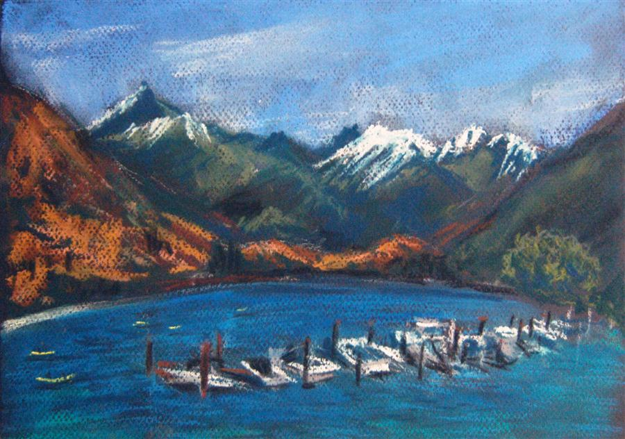 Original art for sale at UGallery.com | Lake and Mountains by MARIA TSAGURIYA | $250 | Pastel artwork | 8.5' h x 12' w | http://www.ugallery.com/pastel-artwork-lake-and-mountains