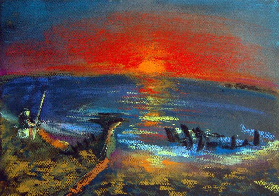 Original art for sale at UGallery.com | Shipwreck by MARIA TSAGURIYA | $250 | Pastel artwork | 8.5' h x 12' w | http://www.ugallery.com/pastel-artwork-shipwreck