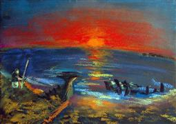 Impressionism art,Seascape art,Representational art,pastel artwork,Shipwreck