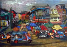 Architecture art,Travel art,Representational art,pastel artwork,Bangkok Market