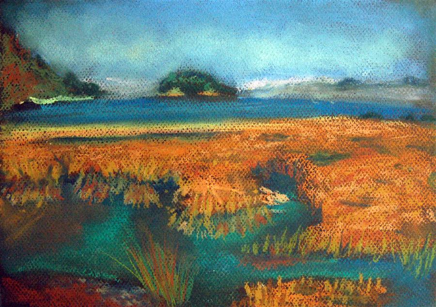 Original art for sale at UGallery.com | Tide by MARIA TSAGURIYA | $250 | Pastel artwork | 8.5' h x 12' w | http://www.ugallery.com/pastel-artwork-tide