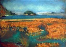 Nature art,Seascape art,Representational art,pastel artwork,Tide