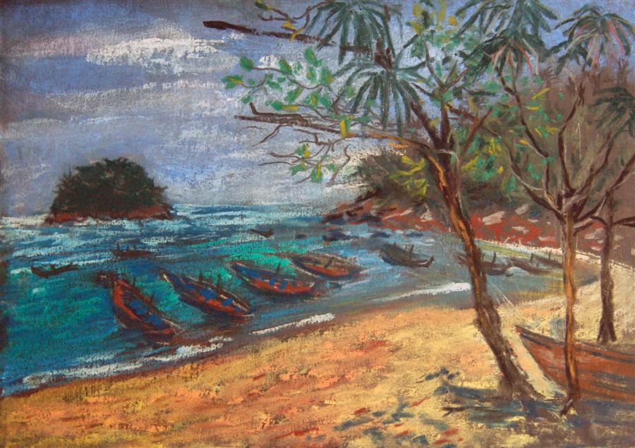 Original art for sale at UGallery.com | Kata Beach by MARIA TSAGURIYA | $250 | Pastel artwork | 8.5' h x 12' w | http://www.ugallery.com/pastel-artwork-kata-beach