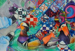 Animals art,Surrealism art,mixed media artwork,Duck Shoe