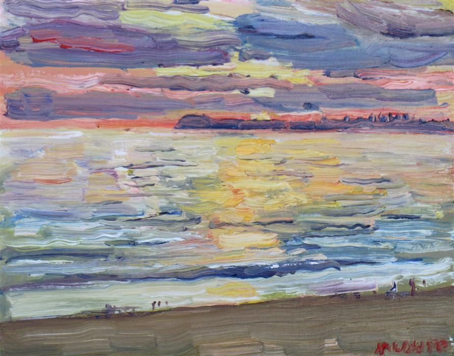 Original art for sale at UGallery.com | Santa Monica Sunset by JOHN KILDUFF | $400 | Oil painting | 8' h x 10' w | http://www.ugallery.com/oil-painting-santa-monica-sunset