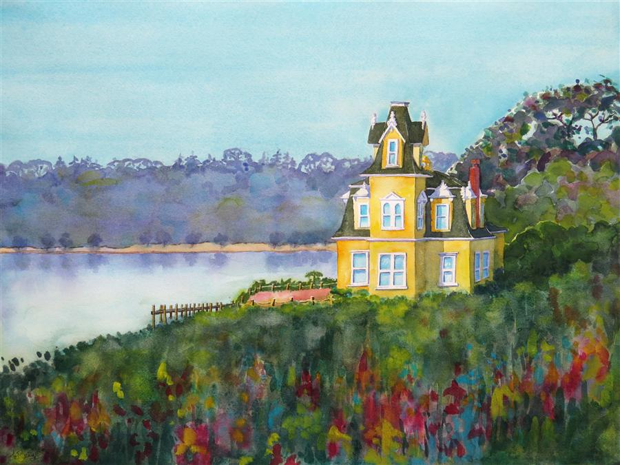 Discover Original Art by Nancy Muren | Lake House watercolor painting | Art for Sale Online at UGallery