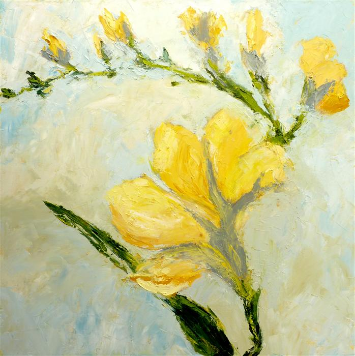 Original art for sale at UGallery.com | Yellow Freesia by JUDY MACKEY | $1,700 | Oil painting | 30' h x 30' w | http://www.ugallery.com/oil-painting-yellow-freesia