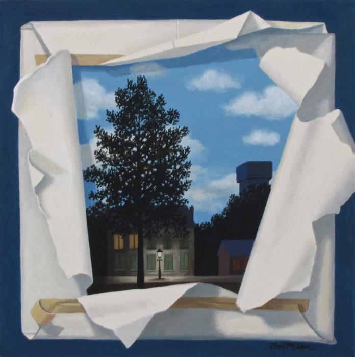 Original art for sale at UGallery.com | Magritte Revealed by TOM MILLER | $335 | Acrylic painting | 16' h x 16' w | http://www.ugallery.com/acrylic-painting-magritte-revealed