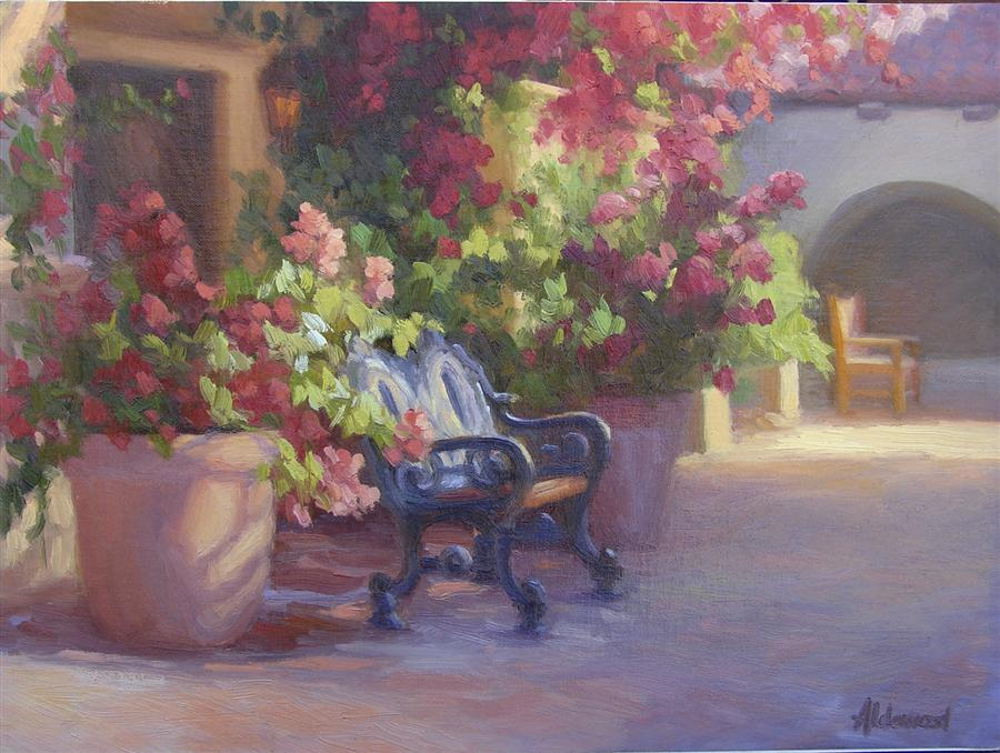 Discover Original Art by Sherri Aldawood | Blooming Courtyard oil painting | Art for Sale Online at UGallery