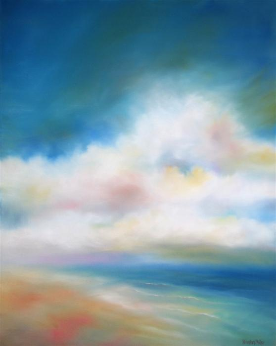 Original art for sale at UGallery.com | Shoreline Clouds by NANCY HUGHES MILLER | $850 | Oil painting | 30' h x 24' w | http://www.ugallery.com/oil-painting-shoreline-clouds