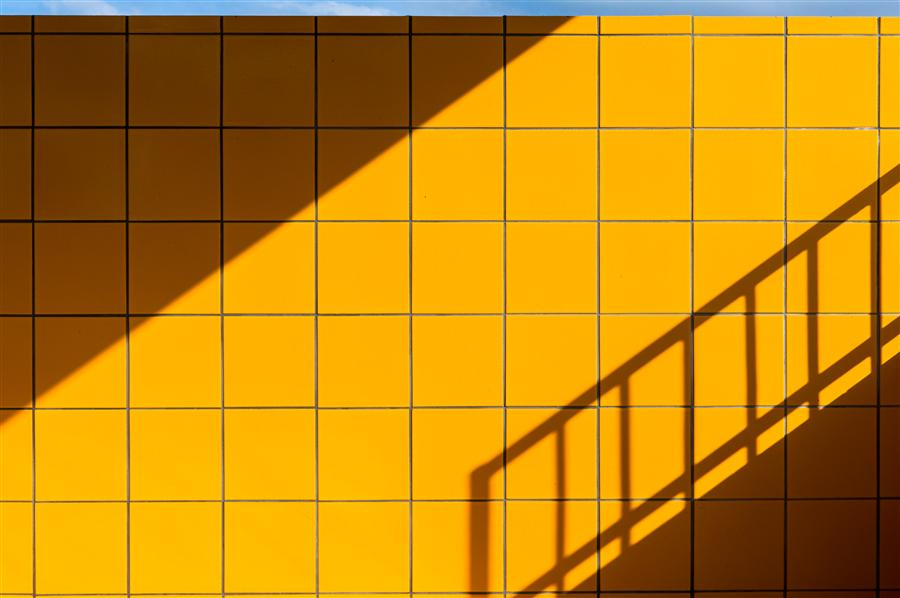 Original art for sale at UGallery.com | Yellow Tiles, Blue Line by KIMBERLY POPPE | $145 |  | ' h x ' w | http://www.ugallery.com/photography-yellow-tiles-blue-line