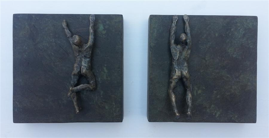 Original art for sale at UGallery.com | Climbers on Square Bases - U46 by YELITZA DIAZ | $1,150 | Sculpture | 12' h x 24' w | http://www.ugallery.com/sculpture-climbers-on-square-bases-u46