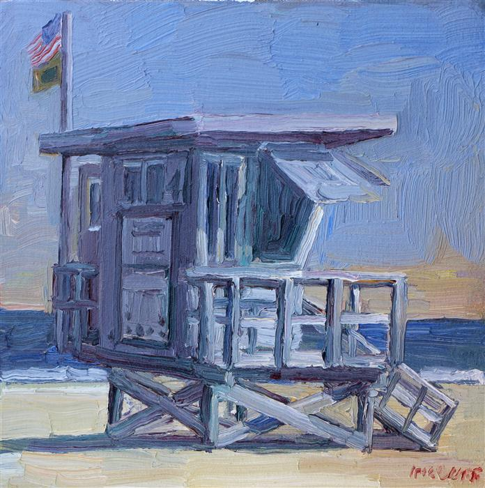 Discover Original Art by John Kilduff | Lifeguard Tower oil painting | Art for Sale Online at UGallery