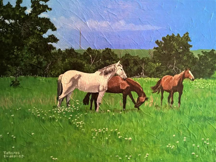 Original art for sale at UGallery.com | Wild Mustangs Couldn't Drag Me Away by PATRICIA FREEMAN | $350 | Acrylic painting | 12' h x 16' w | http://www.ugallery.com/acrylic-painting-wild-mustangs-couldn-t-drag-me-away