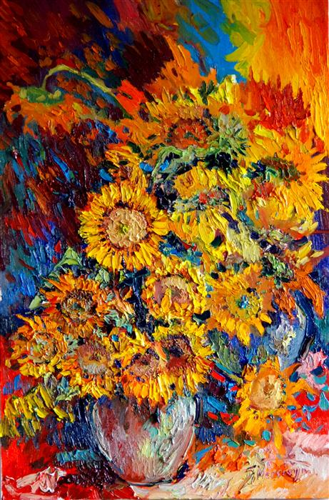 Discover Original Art by Suren Nersisyan | Sunflowers oil painting | Art for Sale Online at UGallery