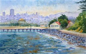 Architecture art,Seascape art,Representational art,watercolor painting,San Francisco Skyline from Fort Point
