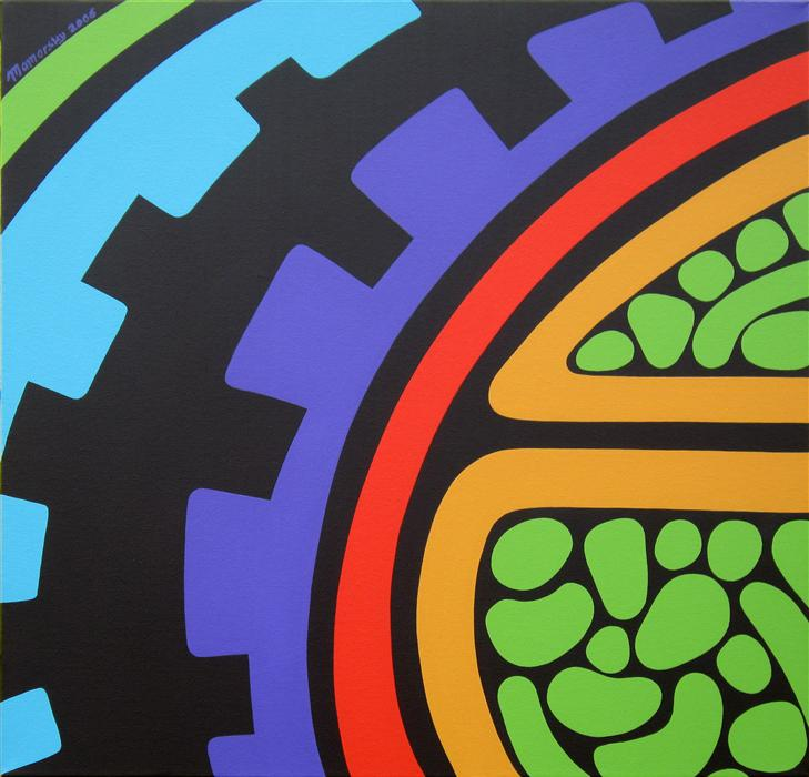 Original art for sale at UGallery.com | As Gears Go By by LIZ MAMORSKY | $1,275 | Acrylic painting | 20' h x 20' w | http://www.ugallery.com/acrylic-painting-as-gears-go-by