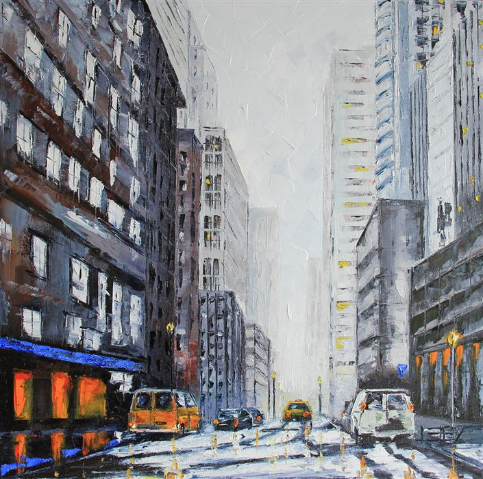 Discover Original Art by Lisa Elley | New York Winter oil painting | Art for Sale Online at UGallery