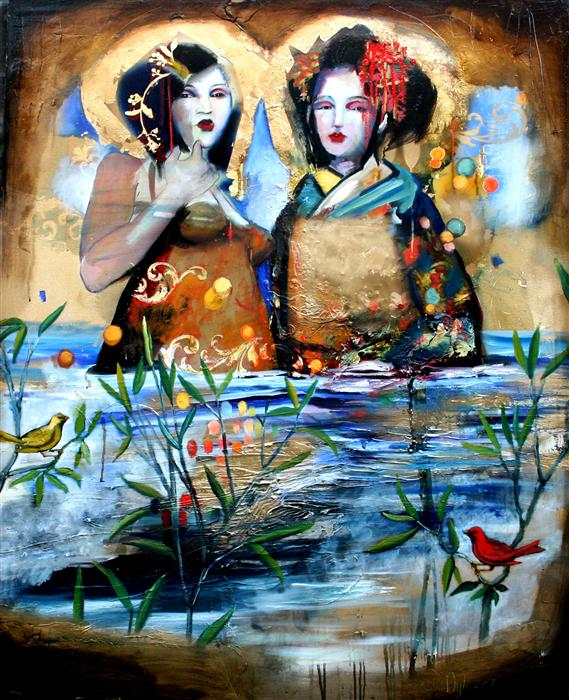 Discover Original Art by Scott Dykema | Standing Together Crossing the Golden Sea mixed media artwork | Art for Sale Online at UGallery