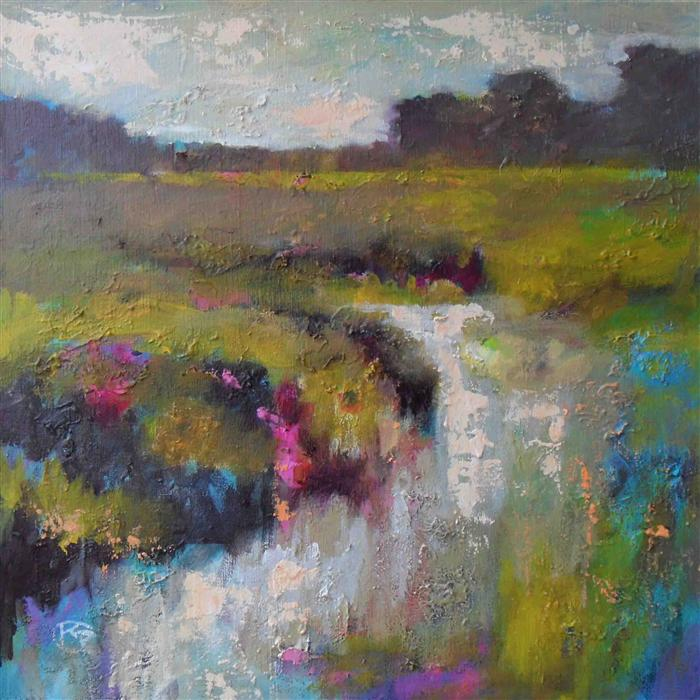 Discover Original Art by Kip Decker | Creek in the Pasture acrylic painting | Art for Sale Online at UGallery