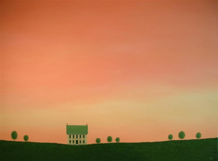 Original art for sale at UGallery.com | Stone Farmhouse Before Sunset by SHARON  FRANCE | $2,375 | Acrylic painting | 30' h x 40' w | http://www.ugallery.com/acrylic-painting-stone-farmhouse-before-sunset