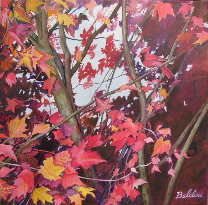 Original art for sale at UGallery.com | Cardinal in the Sweet Gum Tree by CYNTHIA BALDINI | $700 | Acrylic painting | 20' h x 20' w | http://www.ugallery.com/acrylic-painting-cardinal-in-the-sweet-gum-tree