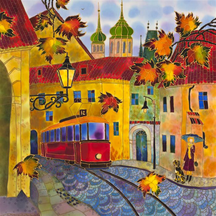 Discover Original Art by Yelena Sidorova | Autumn Leaves, Street in Prague mixed media artwork | Art for Sale Online at UGallery