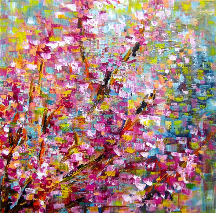 Discover Original Art by Ina Shtukar | Redbud Trees Blooming II acrylic painting | Art for Sale Online at UGallery