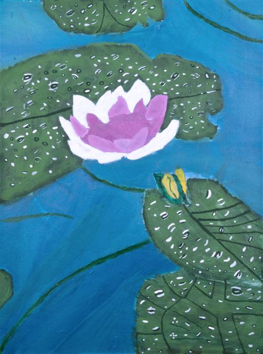 Original art for sale at UGallery.com | Water Lilies by BOYS & GIRLS CLUBS OF SAN FRANCISCO | $175 | Acrylic painting | 24' h x 18' w | http://www.ugallery.com/acrylic-painting-water-lilies-37095