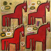 Discover Original Art by Jessica JH Roller | Four Horses acrylic painting | Art for Sale Online at UGallery