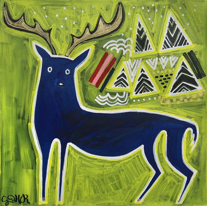 Discover Original Art by Jessica JH Roller | Blue Buck acrylic painting | Art for Sale Online at UGallery