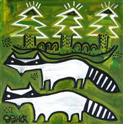 Discover Original Art by Jessica JH Roller | Raccoons and Spruce acrylic painting | Art for Sale Online at UGallery