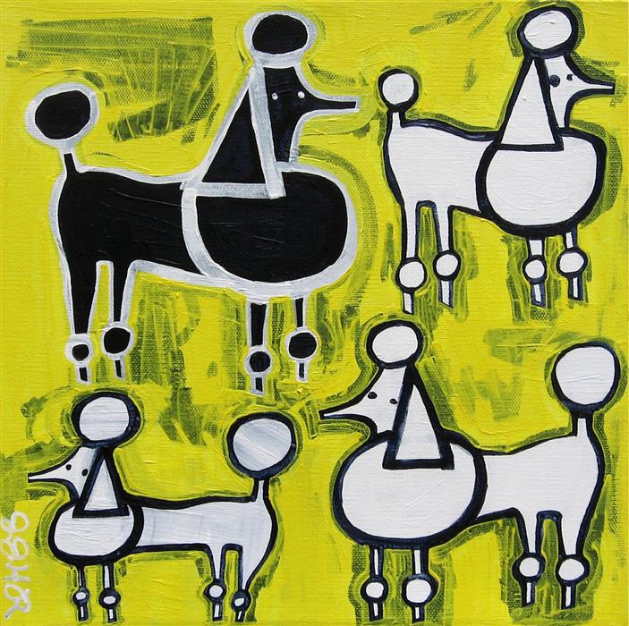 Discover Original Art by Jessica JH Roller | Poodles on Yellow acrylic painting | Art for Sale Online at UGallery