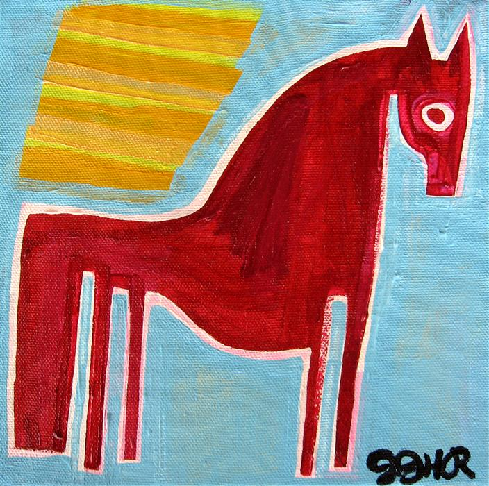 Original art for sale at UGallery.com | Pony in the Sunlight by JESSICA JH ROLLER | $225 | Acrylic painting | 8' h x 8' w | http://www.ugallery.com/acrylic-painting-pony-in-the-sunlight