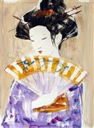 People art,Representational art,Vintage art,watercolor painting,The Yellow Fan