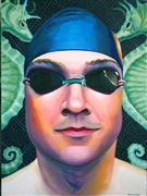 People art,Sports art,Representational art,oil painting,Seaside Poolside