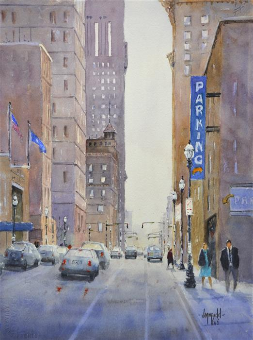 Original art for sale at UGallery.com | City Parking 1 by JUDY MUDD | $550 | Watercolor painting | 15' h x 11' w | http://www.ugallery.com/watercolor-painting-city-parking-1