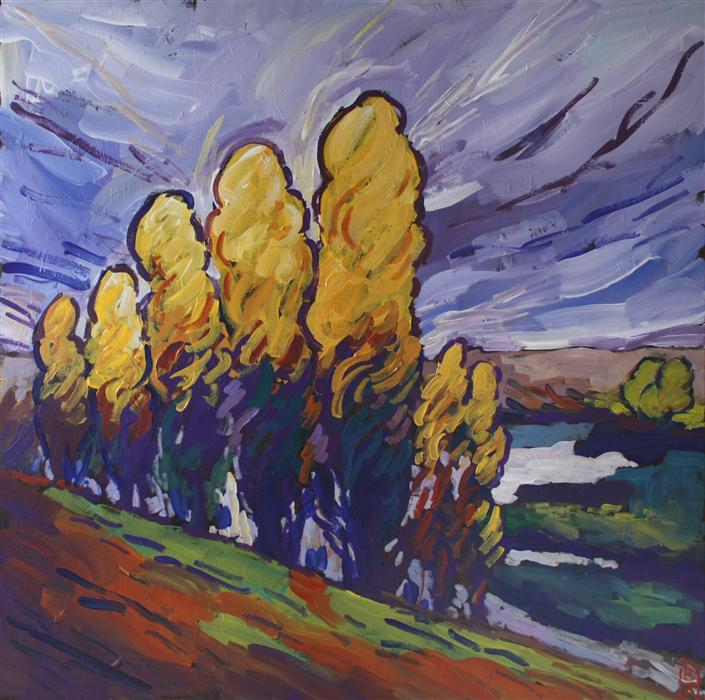 Discover Original Art by Robert Hofherr | Poplars acrylic painting | Art for Sale Online at UGallery