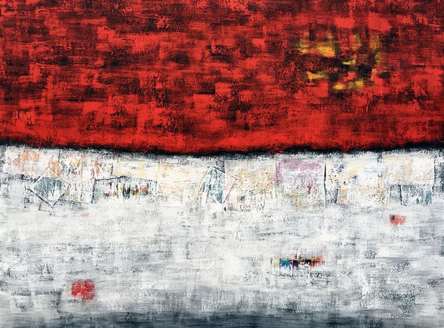 Original art for sale at UGallery.com | Red Velvet on Ice by ROBIN JORGENSEN | $2,550 | Mixed media artwork | 36' h x 48' w | http://www.ugallery.com/mixed-media-artwork-red-velvet-on-ice