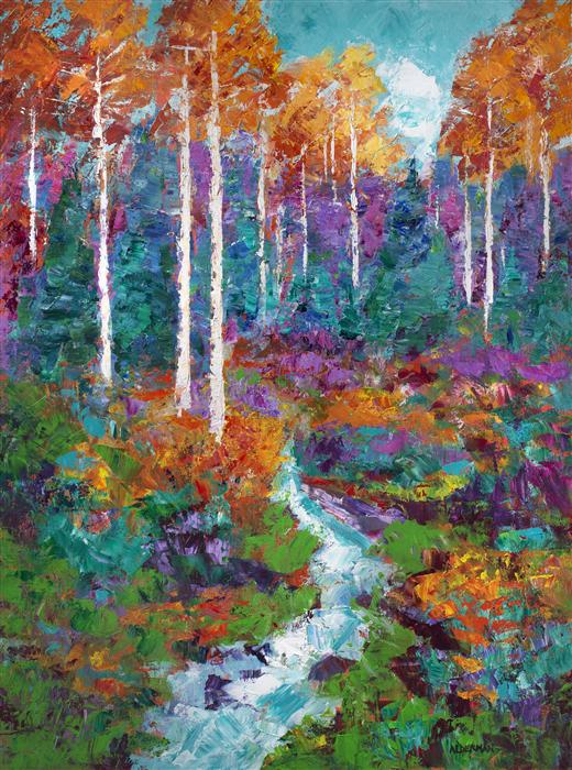 Original art for sale at UGallery.com | Forest Tapestry by ROGER ALDERMAN | $2,725 | Acrylic painting | 40' h x 30' w | http://www.ugallery.com/acrylic-painting-forest-tapestry