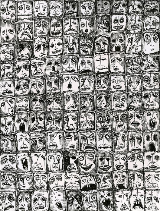 Original art for sale at UGallery.com | 110 Faces by ANTHONY CHRISTOPHER | $650 | Ink artwork | 12' h x 9' w | http://www.ugallery.com/ink-artwork-110-faces