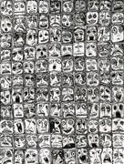 People art,Surrealism art,Representational art,ink artwork,110 Faces