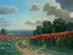Landscape art,Flora art,Classical art,Representational art,oil painting,Poppy Path