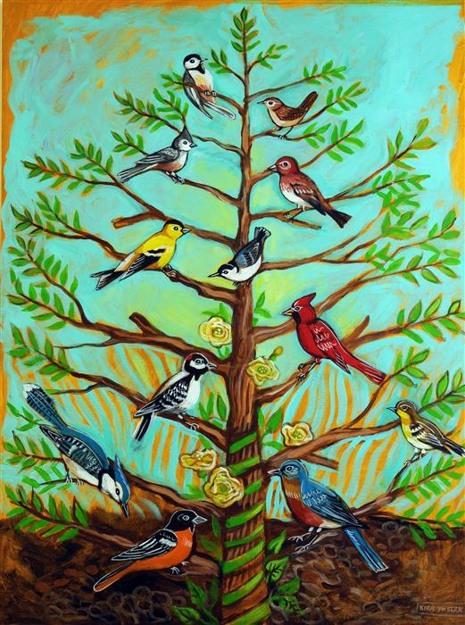 Original art for sale at UGallery.com | Backyard Birds by KIRA YUSTAK | $1,250 | Acrylic painting | 40' h x 30' w | http://www.ugallery.com/acrylic-painting-backyard-birds