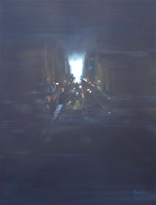 Original art for sale at UGallery.com | City Blues by WHITNEY BABIN | $2,775 | Oil painting | 48' h x 36' w | http://www.ugallery.com/oil-painting-city-blues